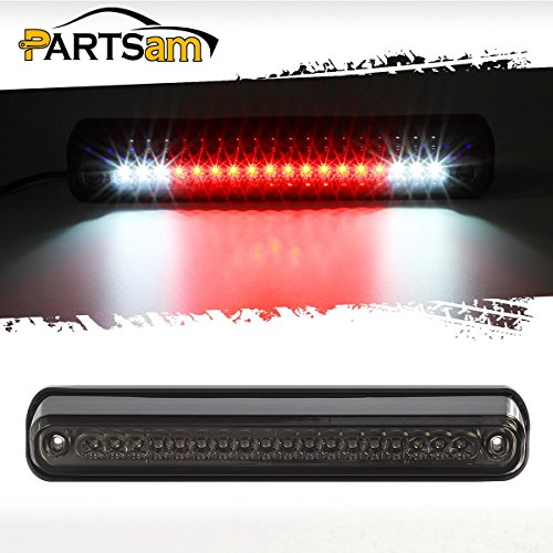 (Partsam Third Brake Light Replacement for Chevy and GMC 1994-1999 C/K 1500 2500 3500 Red/White LED Smoke Lens High Mount 3rd Brake Light Rear Tail Cargo Lamp)