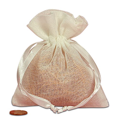 Elegant muslin bags with satin draw string great to use for sachet bags, wedding favor, gift pouch (4 x 5 inches) - White - 12 Pack