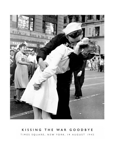 Kissing war goodbye romantic photography poster print 16 x 20 inches