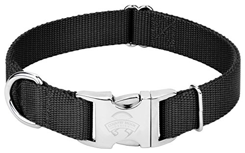 Image of Country Brook Petz | Premium Nylon Dog Collar with Metal Buckle (Large, 1 Inch Wide, Black)