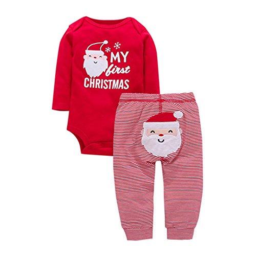 Baby Strampler-Set Longra Neugeborenen Baby Strampler Weihnachtsmann Print T-Shirt Strampler Tops + Hosen Weihnachten Kleidung Set Red