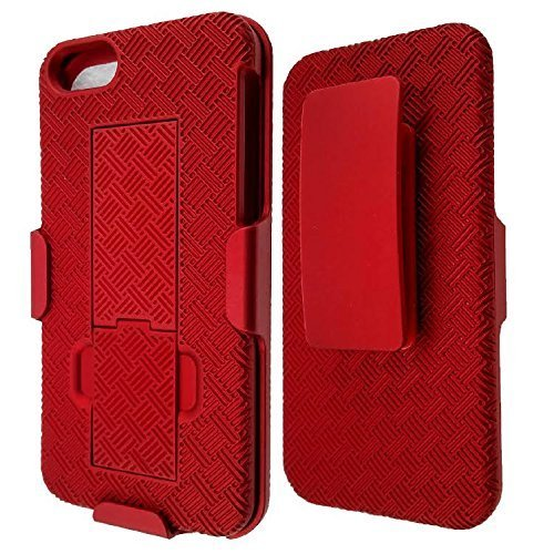 [GW USA] Hard Shell Holster Case Combo Compatible for iPhone SE Case, iPhone 5S, iPhone 5 [Swivel Locking] Belt Clip and Kickstand For Apple i Phone SE/5/5S - RED
