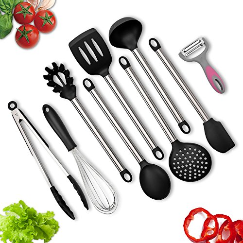 Kitchen Utensils, BravRain 9 Pieces Silicone And Stainless Steel Cooking  Utensils Set, Nonstick Non Scratch Kitchen Tools  Spoon, Whisk, Spatulas,  Skimmer, ...