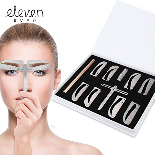 ELEVEN EVER Eyebrow Stencil Ruler kit -Includes 4 Group Eyebrow stencils...