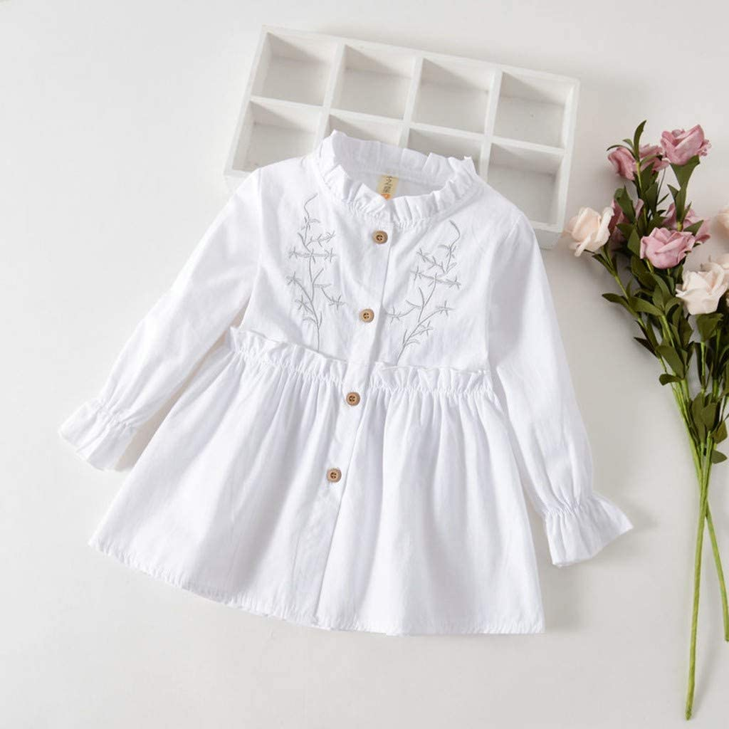 1-4Years,SO-buts Toddler Baby Girls Lovely Long Sleeve Solid Ruched Princess Dresses Clothes