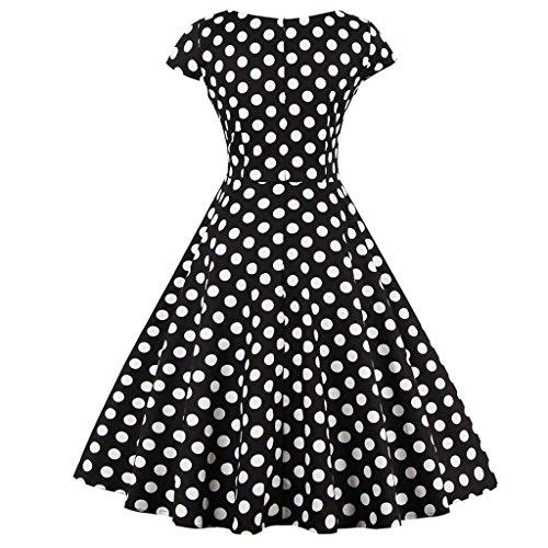 DRT019 Mangas Rockabilly Baile Puntos FAIRY Negros COUPLE de 1950S Lunares Cap Vintage Vestido xHYFvZwq
