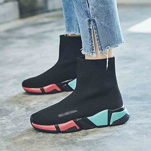 LIANGJUN Ankle Boots Women's Shoes Knitted Outdoor Sports Sneakers Spring, 5 Sizes, Black (Size : EU35=UK4=L:225mm)