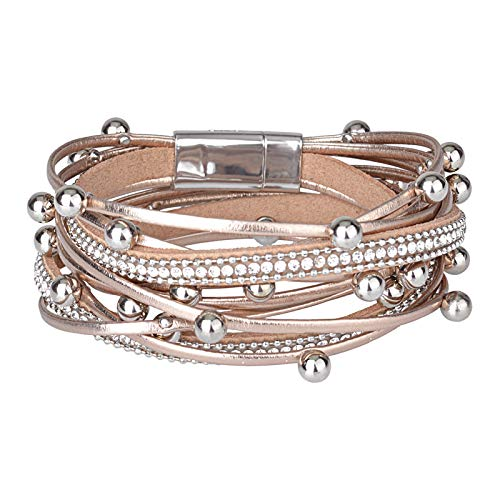 - HIIXHC Multi-Layer Leather Bracelet - Braided Wrap Cuff Bangle -Bohemian Bracelet and Alloy Magnetic snap Jewelry for Women,Girl Gift (Diamond-Rose Gold)