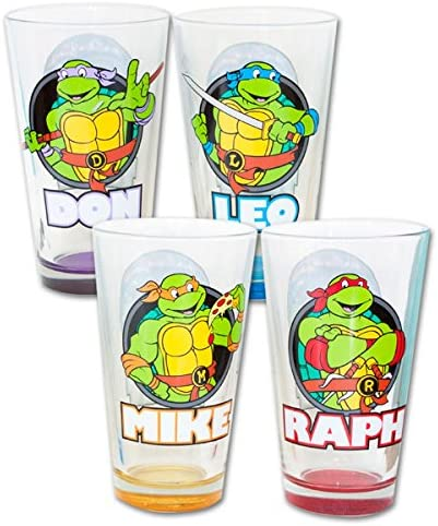 TMNT Teenage Mutant Ninja Turtles with Names Set of 4 Pint Glasses