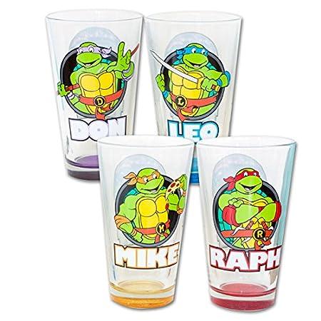 TMNT Teenage Mutant Ninja Turtles with Names Set of 4 Pint ...