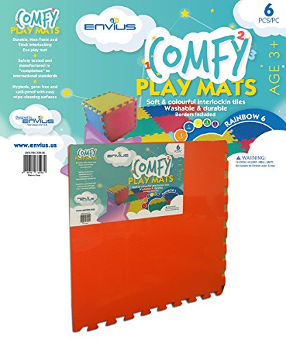 EnviUs Comfy Play Mat Rainbow 6 : Formamide Free Thick 6 Pieces 24