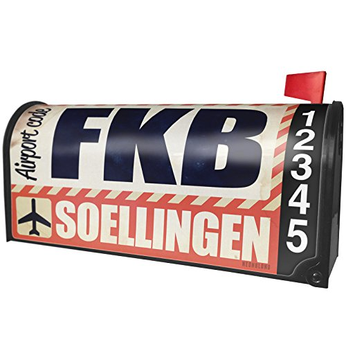 Neonblond Airportcode Fkb Soellingen Magnetic Mailbox Cover Custom Numbers