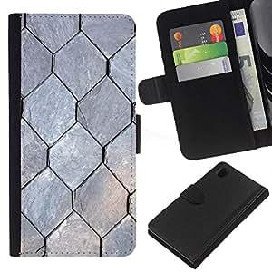 Sony Xperia Z1 / L39h / C6902 Modelo colorido cuero carpeta tirón caso cubierta piel Holster Funda protección - Freedom Pattern Hexagon Grey
