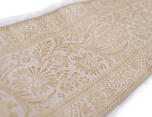 Jacquard White Ribbon Trim (Gold & Cream Sari Border Sewing Trim 3.75