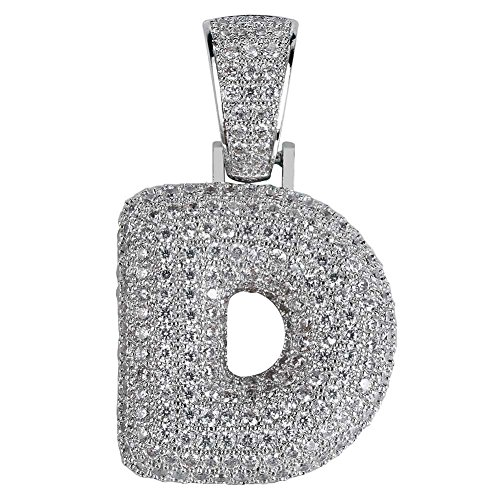 HECHUANG Micropave Simulated Diamond Iced Out Bling Custom Bubble Letters Pendant with Tennis Necklace (D Pendant)