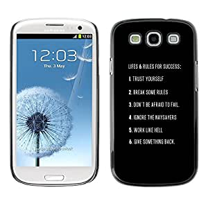 All Phone Most Case / Hard PC Metal piece Shell Slim Cover Protective Case Carcasa Funda Caso de protección para Samsung Galaxy S3 I9300 ruled for success inspiring poster text