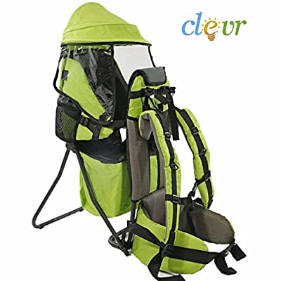 Clevr Baby Toddler Backpack Carrier Lightweight Stand Child Kid Sun Shade Visor Shield, Red or Green | 1 Year Limited Warranty