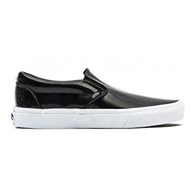 vans black patent leather slip on