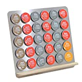 ROAN Coffee Capsule Holder and Dispenser Storage Solution for Nescafe Capsules Storage Dolce Gusto, Stainless steel and Birch (30 Capsule Capacity)