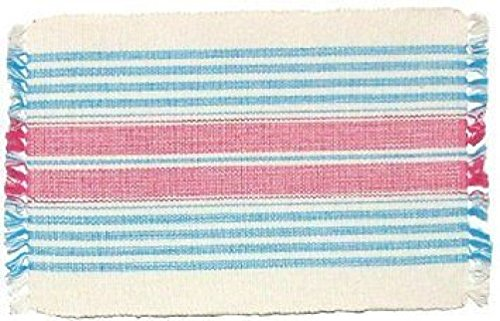 100% Cotton Blue Pink & Yellow Striped 12