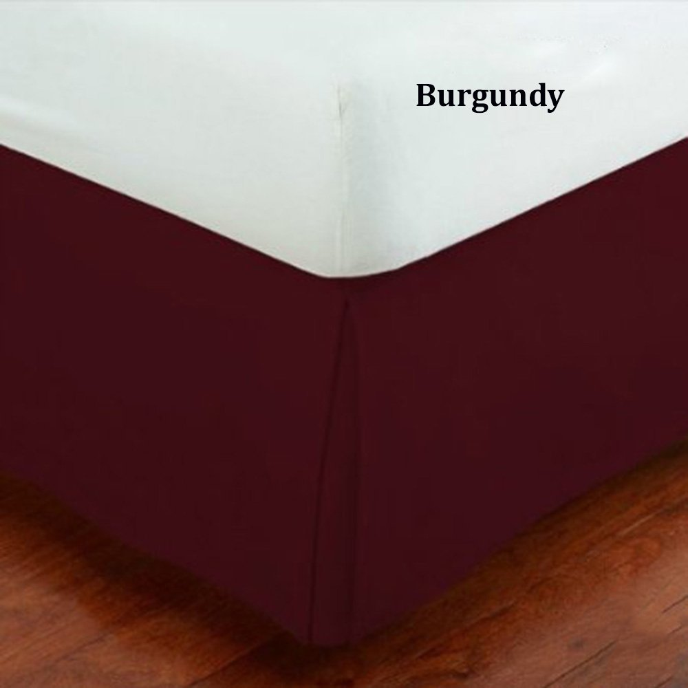 Fancy Collection Queen Size Easy Care Tailored Microfiber 14-inch Bed Skirt Solid Burgundy