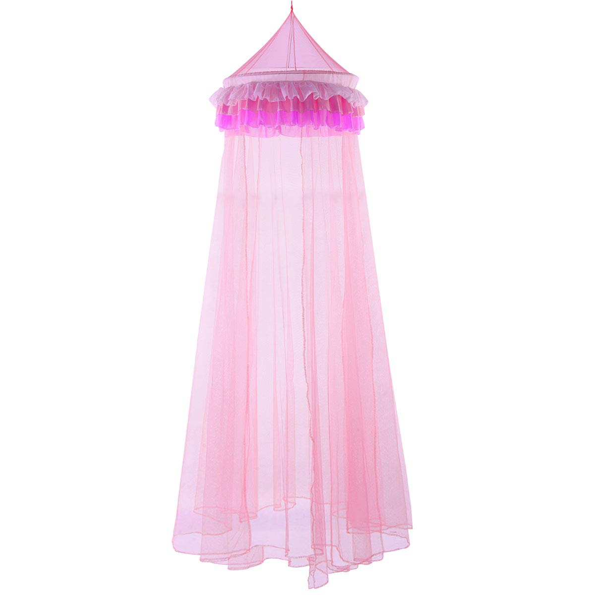 HAPPYGRILL Bed Canopy Mosquito Net Princess Fairy Net with Elegant Ruffle Lace for Girls and Baby (Pink)