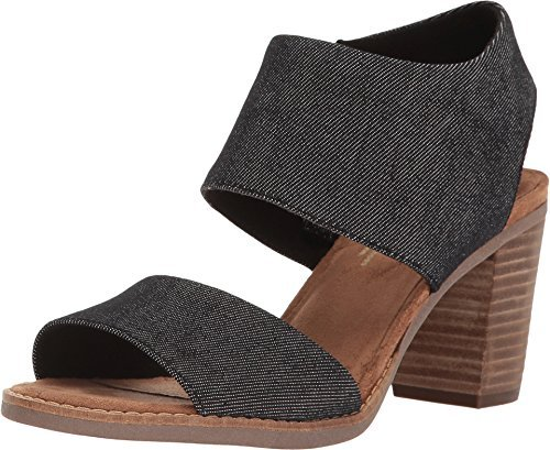 Toms Women's Majorca Cutout Sandal - Black/Denim, 12 B(M) US