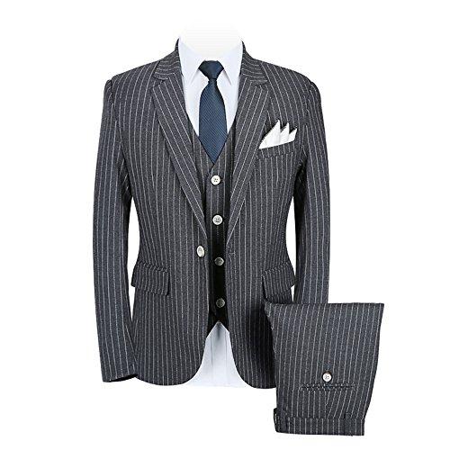 YIMANIE Men's Plaid Tweed 3 Piece Suit Slim Fit Single Breasted Dinner Suit Tuxedo,Grey,XS