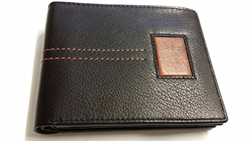 Cowhide Equestrian grain Stitched A Leather Black Genuine amp;S Fancy Bifold Wallet 5qgwwRtIx