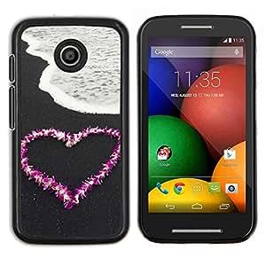 TECHCASE---Cubierta de la caja de protección para la piel dura ** Motorola Moto E ( 1st Generation ) ** --El amor la flor del corazón Beach