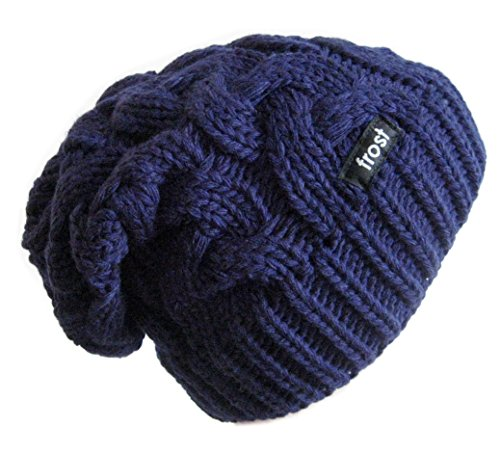 Frost Hats Winter Hat for Women Slouchy Beanie Cable Hat Knitted Winter Hat Frost Hats (Navy Blue)