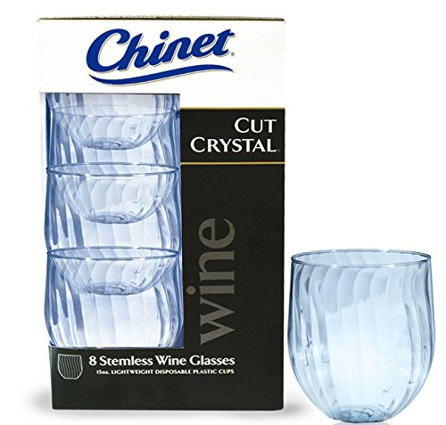 Chinet Cut Crystal 15oz Stemless Wineglass (8x5 boxes, 40 count)