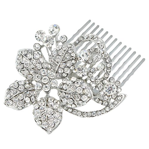 EVER FAITH Hibiscus Flower Vine Wedding Hair Comb Clear Austrian Crystal Silver-Tone
