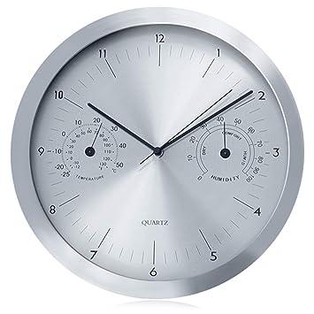 """Reloj de pared con termómetro e higrómetro 14"""" Color negro o plateado (Negro)"""