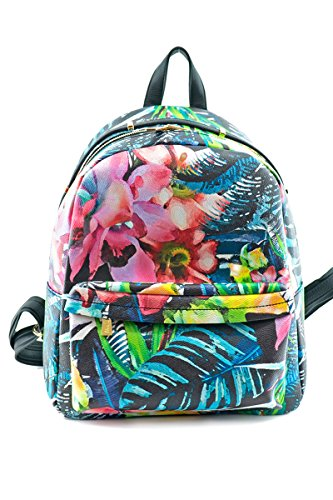 Pocket hna195 Printed Front Backpack Tropical lcolette Floral Black naRqZgIR