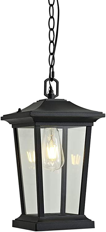 Amazon Com Smeike Outdoor Pendant Lighting 1 Light Outdoor Hanging Lantern Farmhouse Style Exterior Porch Lights In Black Finish With Clear Glass 60w Home Improvement