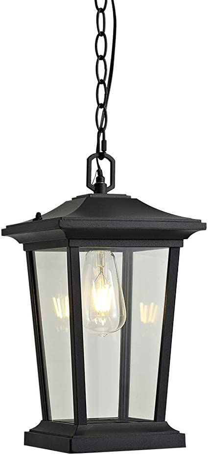 Smeike Outdoor Pendant Lighting 1 Light Outdoor Hanging Lantern Farmhouse Style Exterior Porch Lights In Black Finish With Clear Glass 60w Home Improvement Amazon Com