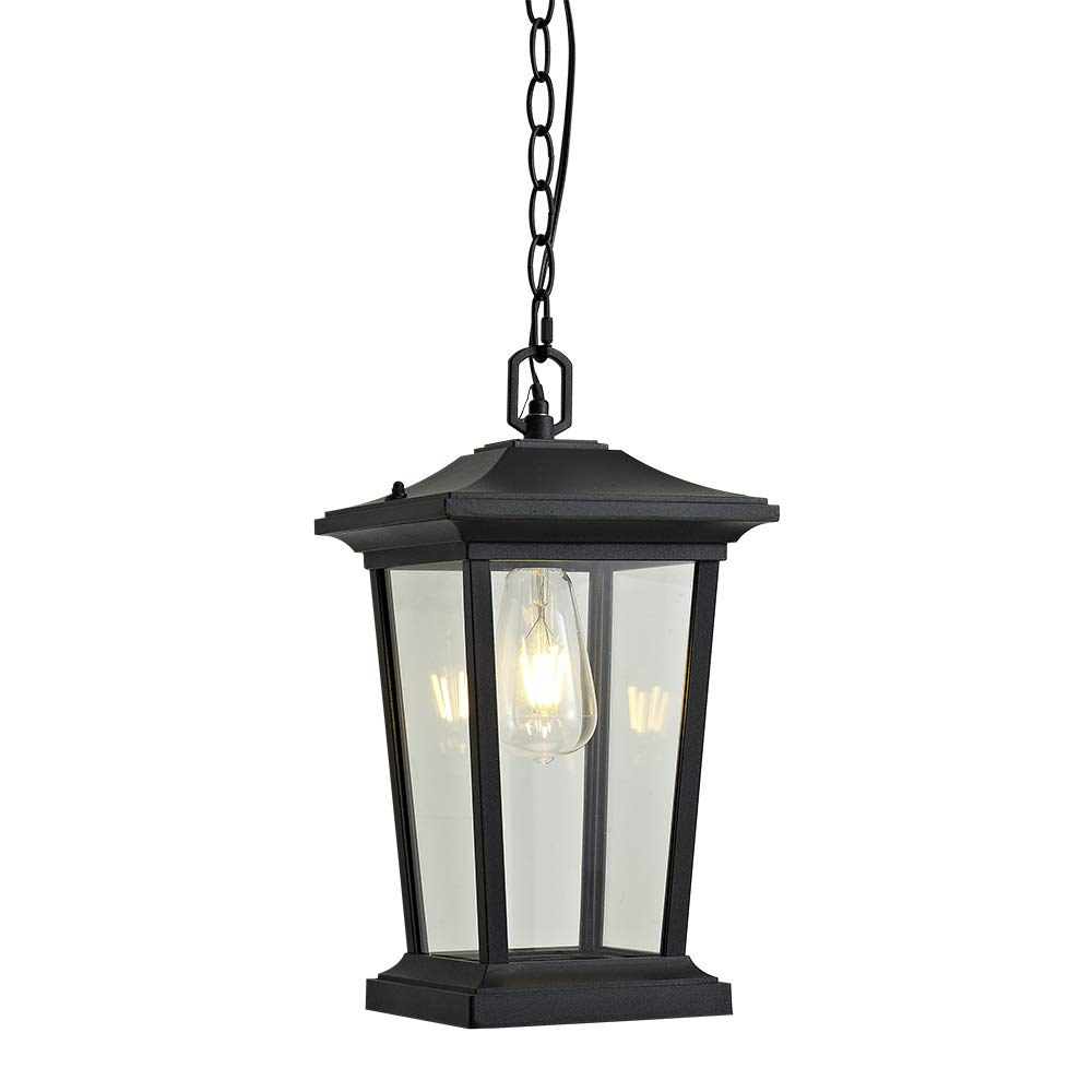 Outdoor Pendant Lighting, 1-Light Outdoor Hanging Lantern, Farmhouse Style Exterior Porch Lights in ORB Finish with Clear Glass, 60W by Smeike
