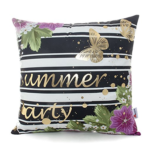 Monkeysell Bronzing Gold pillow flannelette Home Pillowcases Throw Pillow Cover Cushion Waist lumbar pillow Striped purple flower butterfly pattern design (18 18 inches without the inside, S148B14)