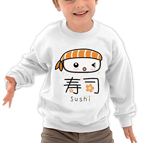 Price comparison product image Puppylol Japana Sushi Kids Classic Crew-neck Pullover Hoodie White 5-6 Toddler