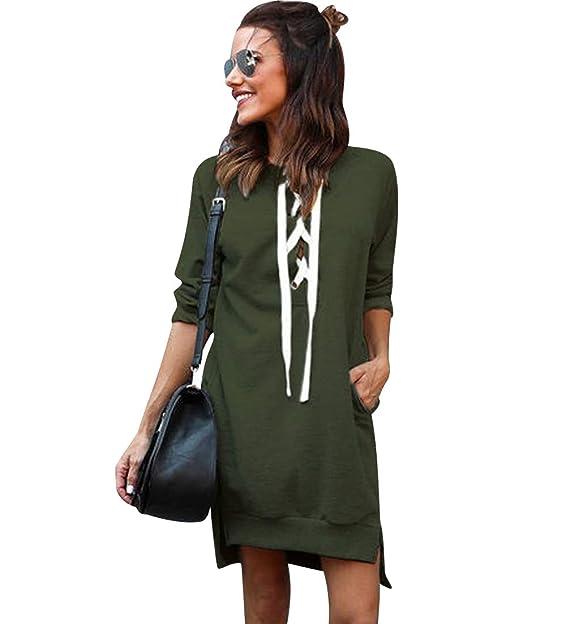 Pengniao Sweatshirt Damen Lang Lange Pullover Kleid Damen Longpullover  Sweat Pullis Langarm Oversize Long Sweatshirts Kleid Longpullis Sweatkleid  ... 14845c6da6