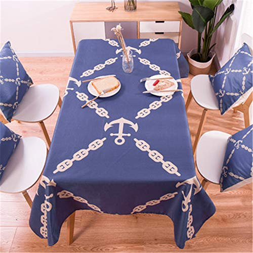 zfdvho Plant Pattern Cotton Linen Waterproof Tablecloth Decoration Home Decoration Tablecloth Tablecloth blue3 140x160cm