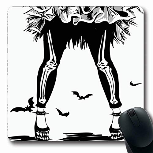 Ahawoso Mousepad for Computer Notebook Black Bat Girls Legs Leggins Skeletons Scary Freak Funny Goth Gothic Design Oblong Shape 7.9 x 9.5 Inches Non-Slip Gaming Mouse Pad