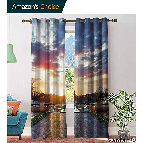 Big datastore home Eiffel Tower Curtain Set for Living Room,Parisian Landmark Sunrise with Clouds on Horizon Park Statues Sun Rays for Kids Youth Room, W72 x L96 ()