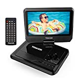 TENKER 9.5' Portable DVD Player with Swivel Screen, Rechargeable Battery and SD Card Slot & USB Port, Black