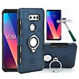 LG V30/LG V30 Plus/LG V30 s/LG V35 ThinQ/LG V35 Case with HD Screen Protector, EDSAM Dual Layer Shockproof Case with 360 Degree Rotating Ring Kickstand Fit Magnetic Car Mount for LG V30 (Navy Blue)