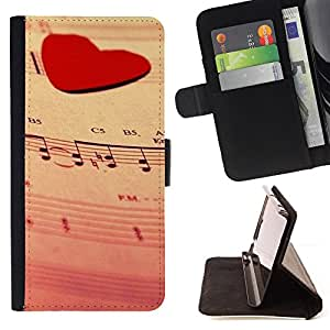 DEVIL CASE - FOR Samsung Galaxy Note 3 III - Love Music Heart - Style PU Leather Case Wallet Flip Stand Flap Closure Cover