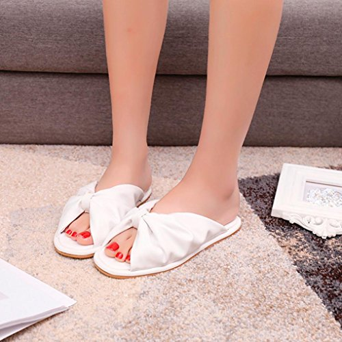 Womens Sandals ,Clode® Ladies Gilrs Summer PU Leather Knot Peep Toe Flat Slippers Flip Flops Sandals Shoes White