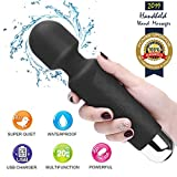 Upgraded Powerful Vibrate Wand Electric Massager with 20 Vibration Modes, Whisper Quiet, Waterproof, Handheld, Cordless for Neck Shoulder Back Body Massage, Sports Recovery & Muscle Aches - Black