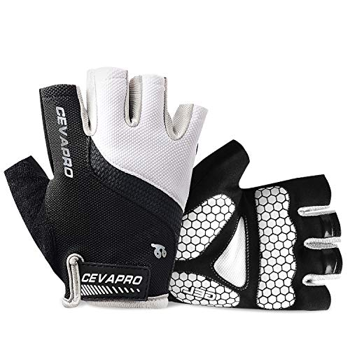 Cevapro Cycle Gloves Mountain Road Bike Gloves Half Finger Bicycle Gloves with Anti Slip Shock-Absorbing Gel Pad Cycling Riding Biking Gloves MTB DH Road Bicycling Gloves for Men Women (White, M)